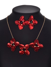 Fashion Red Flower Shape Decorated Jewelry Set