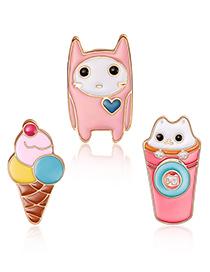 Fashion Pink Ice-cream Shape Decorated Clothing&bag Buckle(3pcs)