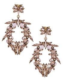 Fashion Light Pink Full Diamond Decorated Earrings