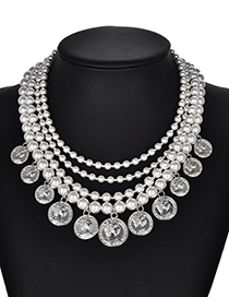 Fashion Silver Color Pearl Decorated Necklace