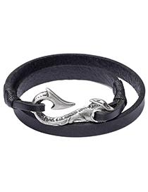 Fashion Black Hook Shape Decorated Bracelet