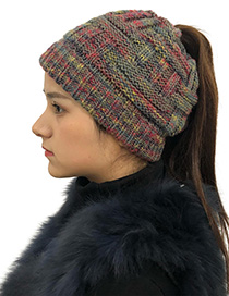 Fashion Gray Color Matching Decorated Hat