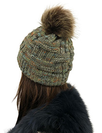 Fashion Green Pom Ball Decorated Hat