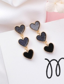 Fashion Dark Gray Heart Shape Decorated Earrings