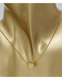 Simple Gold Color Letter F&heart Shape Decorated Necklace