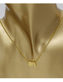 Simple Gold Color Letter I&heart Shape Decorated Necklace