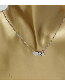 Simple Silver Color Letter M&heart Shape Decorated Necklace