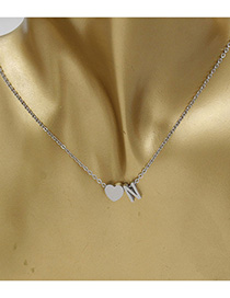 Simple Silver Color Letter N&heart Shape Decorated Necklace