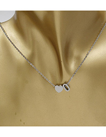 Simple Silver Color Letter O&heart Shape Decorated Necklace