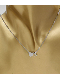 Simple Silver Color Letter X&heart Shape Decorated Necklace