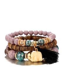 Fashion Purple Elephant Shape Decorated Tassel Bracelet (3 Pcs )