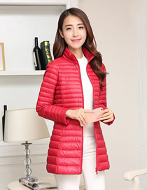 Fashion Red Pure Color Decorated Down Jacket