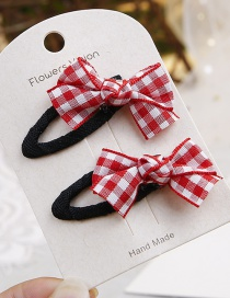 Fashion Red+white Grid Pattern Decorated Hair Clip