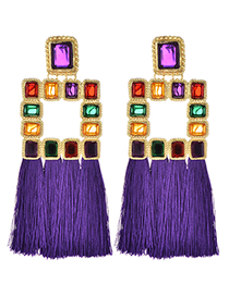 Fashion Purple Diamond Decorated Tassel Earrings