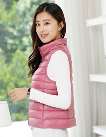 Fashion Pink Pure Color Decorated Cotton Vest