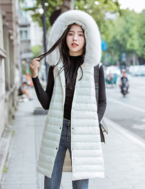 Fashion White Pure Color Decorated Down Jacket