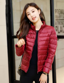 Simple Claret Red Pure Color Decorated Down Jacket