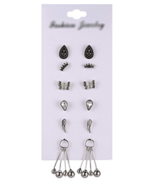 Fashion Silver Color Butterfly&wings Decorated Earrings(12pcs)
