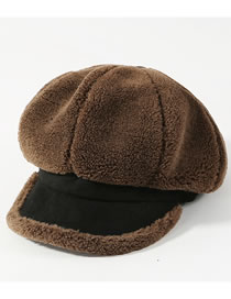 Fashion Coffee Pure Color Decorated Thickened Octagonal Cap