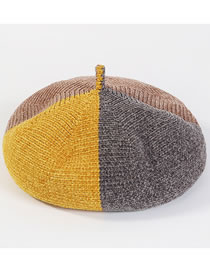 Fashion Khaki+yellow Color Matching Decorated Thickened Hat