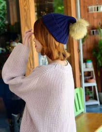 Fashion Navy Pom Ball Decorated Hat