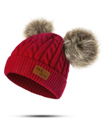 Fashion Claret Red Pearl Decorated Pure Color Hat