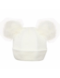 Fashion White Pure Color Decorated Pom Ball Hat