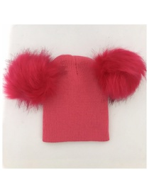 Fashion Plum Red Pom Ball Decorated Pure Color Hat