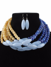 Fashion Blue+khaki Color Matching Design Multi-layer Jewelry Sets