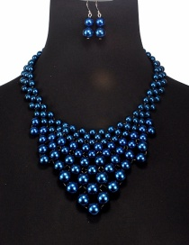 Fashion Blue Pearls Decorated Pure Color Jewelry Sets
