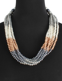 Fashion Multi-color Pearls Decorated Color Matching Necklace