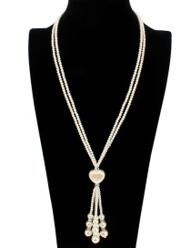 Fashion White Pearls Decorated Pure Color Necklace