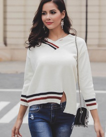 Fashion White V Neckline Design Long Sleeves Sweater