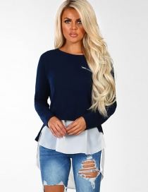 Fashion Navy+white Color Matching Design Long Sleeves Blouse