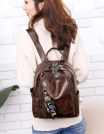 Fashion Coffee Bear Pendant Decorated Backpack