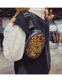 Fashion Dark Brown Leopard Pattern Design Round Shape Bag