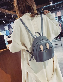 Fashion Gray Cartoon Ears Design Pure Color Backpack