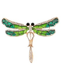 Fashion Green Dragonfly Shape Decorated Brooch