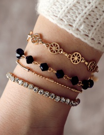 Fashion Gold Color Diamond Decorated Bracelet(4pcs)