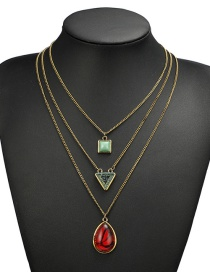 Fashion Red Multi-layer Deisgn Necklace