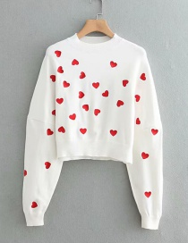 Fashion White Heart Pattern Decorated Sweater