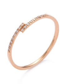 Fashion Rose Gold Diamond Decorated Ring
