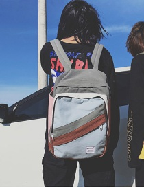 Fashion Blue+gray Letter Pattern Decorated Backpack