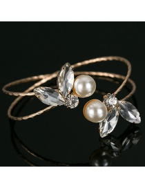 Fashion Gold Color Pearls&diamond Decorated Opening Bracelet
