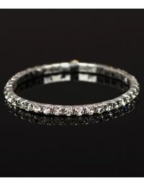 Fashion Silver Color Diamond Decorated Pure Color Bracelet