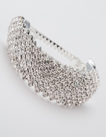 Fashion Silver Color Full Diamond Design Pure Color Hair Claw
