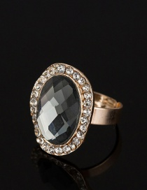 Fashion Gray Oval Shape Diamond Decorated Ring