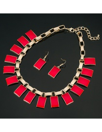 Fashion Red Square Shape Gemstone Decorated Jewelry Sets