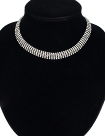 Fashion Silver Color Diamond Decorated Pure Color Choker