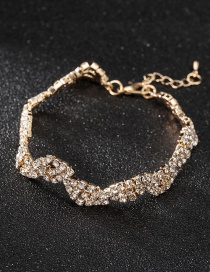 Fashion Gold Color Full Diamond Design Pure Color Bracelet